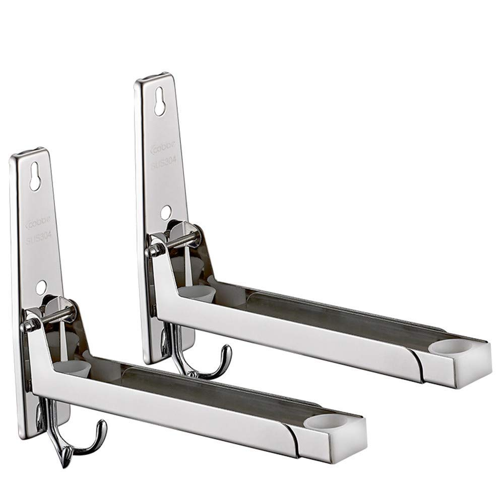 In2Ho 304 Stainless Steel Microwave Oven Rack Folding Oven Shelf Kitchen Wall Mount Bracket with Hook (Chrome)
