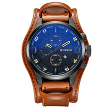 Fashion Curren Men Date Stainless Steel Leather Analog Quartz Sport Black Wrist Watch