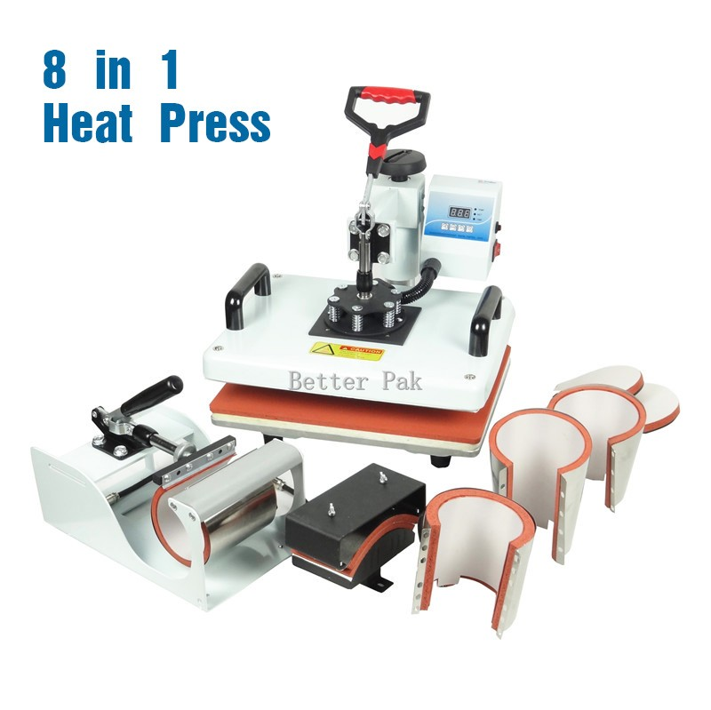 HM-CIN1(8in1) heat press (single heating) High pressure T-shirt heat press  machine sublimation heat transfer machine (29cm*38cm)