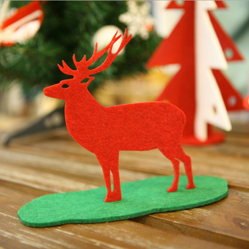 Felt Fabric Deer Shaped Home Christmas Ornament Decoration DIY XMAS Gift