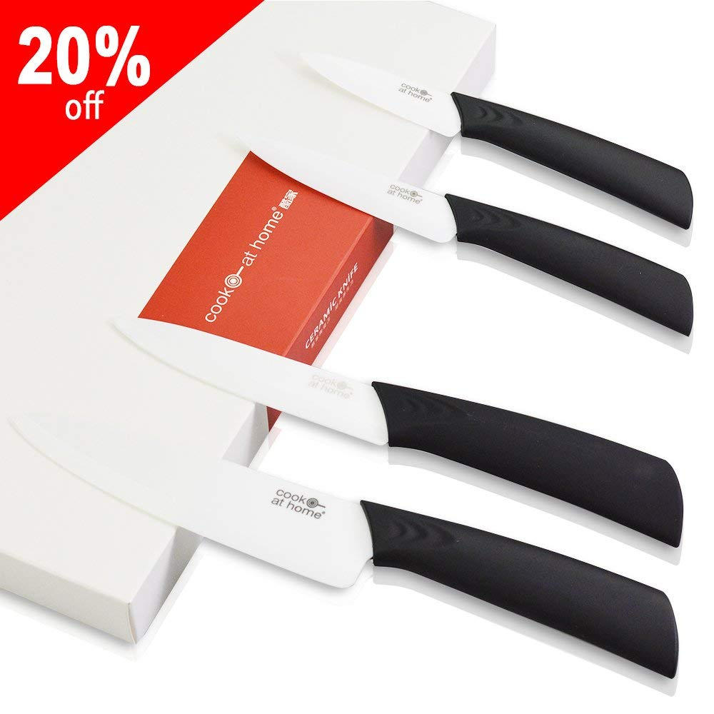 """4 Piece Ceramic Kitchen Knife Set:Includes 6-inch Ceramic chef Knife,4"""" Ceramic fruit Knife,3"""" Ceramic Paring Knife and Ceramic Bladed Peeler,White Blade(FBA)"""