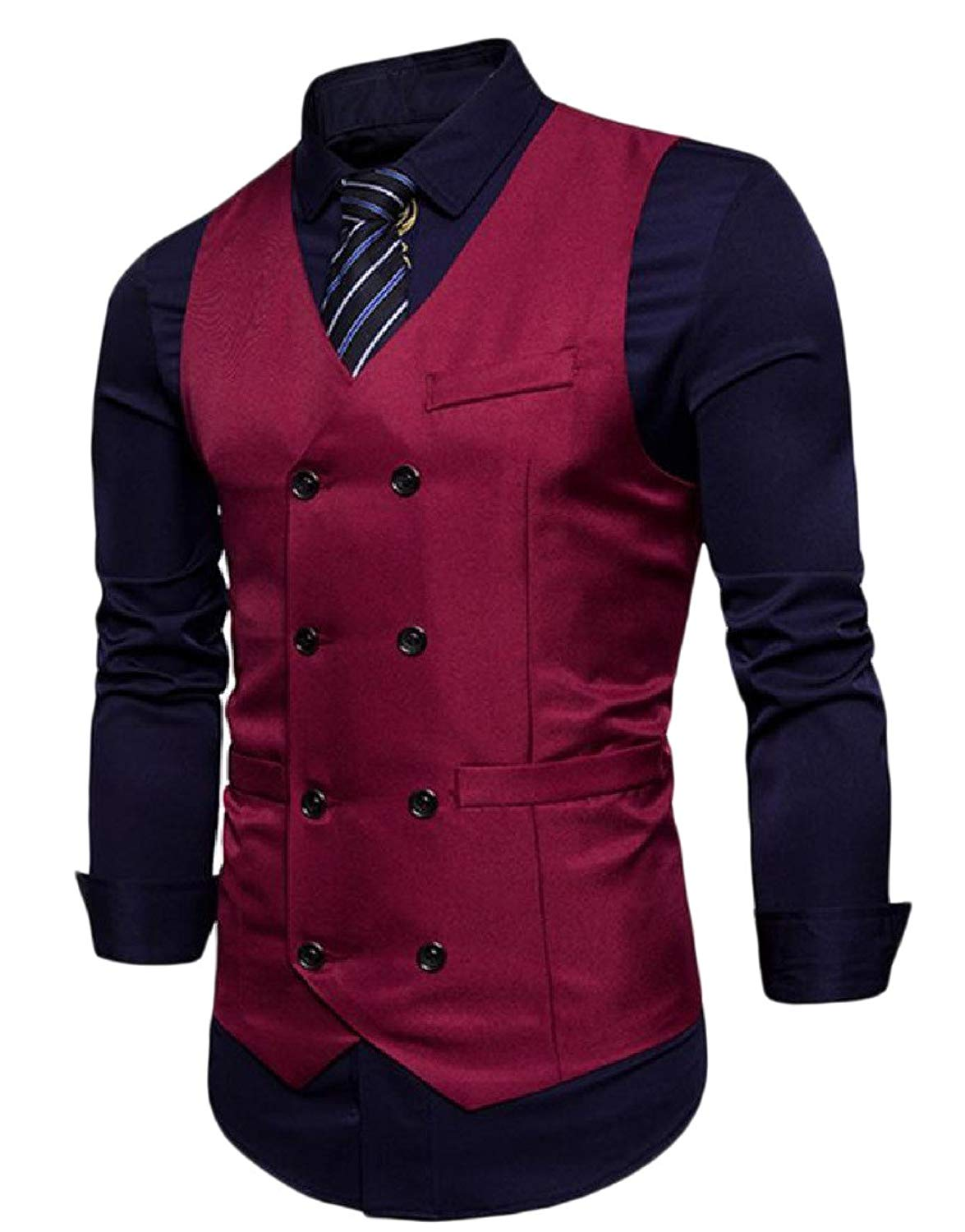 Vivi-Men Double-Breasted Solid Color Trim-Fit Wild Business Waistcoat