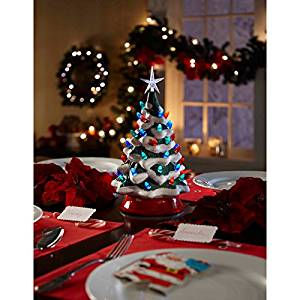 vintage cordless ceramic led christmas tree table decor features 38 assorted lights