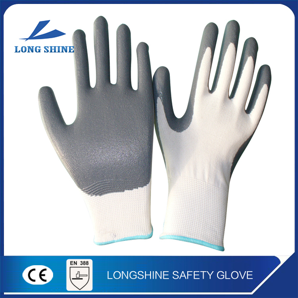 High Quality 10G Polyester/ Nylon Liner Nitrile Half Coated Gardening Hand Protection Work Glove