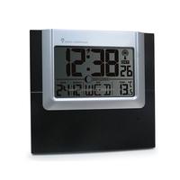 Black Radio Controlled Wall Clock With Indoor Outdoor Temperature