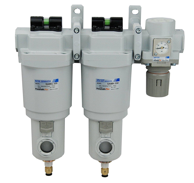 "PneumaticPlus SAMU350-N04DGS-MEF-S Three Stage Air Drying System - Water Separator, 0.01 Micron Coalescing Filter, Air Pressure Regulator Modular Combo 1/2"" NPT - Auto Drain, Metal Bowl"