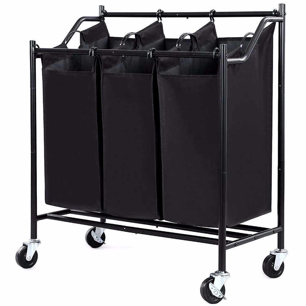3 compartment laundry sorter cart with wheels