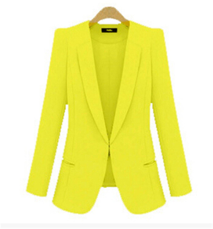 449eed888e8 Get Quotations · Michael Palmer Yellow Blazer Plus Size 4XL Formal Jacket  Women s White Blazer Rose Blue Suit Office