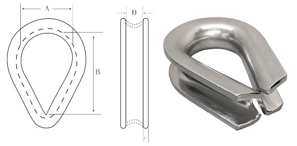 Lifting Galvanized Stainless Steel marine heavy duty thimble