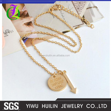 JTBC1041 Yiwu Huilin Jewelry Fashion Beater Be Brave and Keep Going Coins Arrows Necklaces