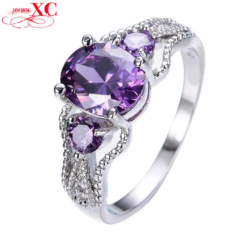 Dudee Jewelry Elegant Amethyst Oval Zircon Stone Ring Bridal White Gold Filled Cute Jewelry Wedding Finger Ring RW1317