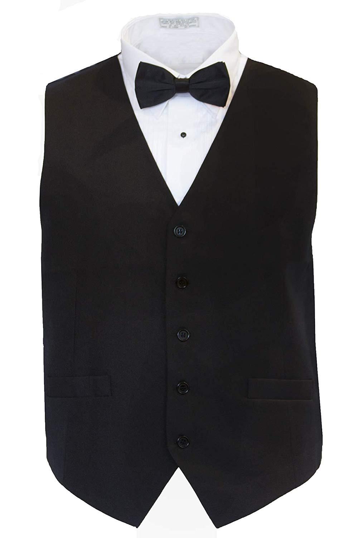 Marquis Men's Classic Fit Tuxedo Black Vest Set, Bowtie Slim Tie Option