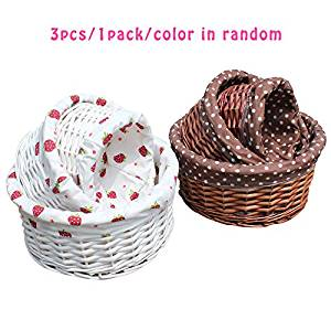 Sealive Handmade Willow Bamboo Woven Straw Storage Basket ,Laundry Hamper,Closet Organizer Box-Basket Fits in Any Room,Snacks Woven Baskets 3PCS/1 Pack