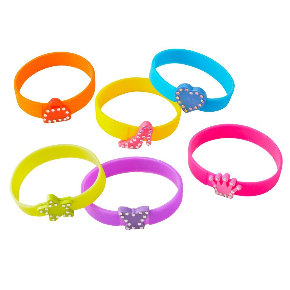 Bling Silicone Bracelets With Charms (2 dz)