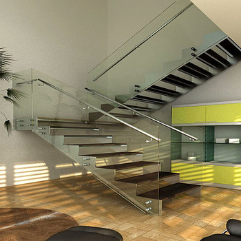 Fashionable And Durable Steel Wood Straight Staircase Design For