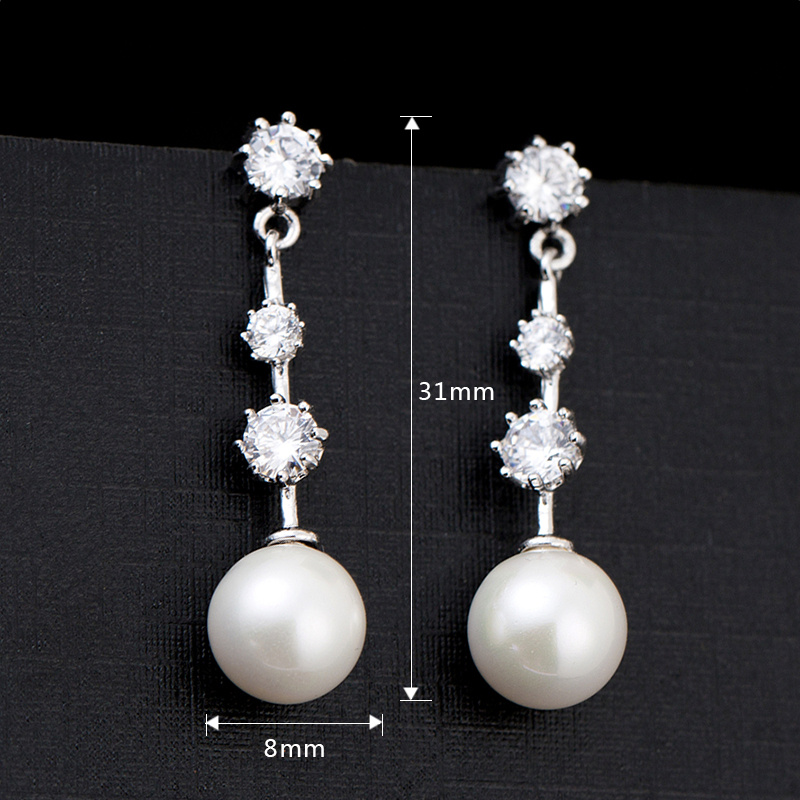 Long Shape Zircon &Pearl Party Jewelry Crystal Zircon Drop Earrings