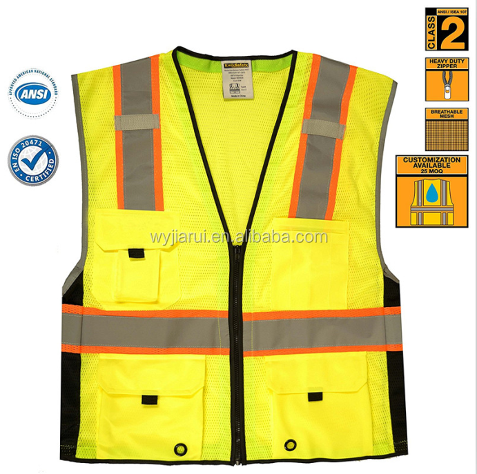 Pen pocket 3m safety reflective vest / Safety Class 2 Deluxe Safety Vest | Running Motorcycle Construction Traffic Emergency