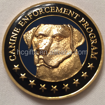 Top Quality Custom Design Awards & Corporate Gifts Soft Enamel Filled Solid Brass US Customs K9 Challenge Coin