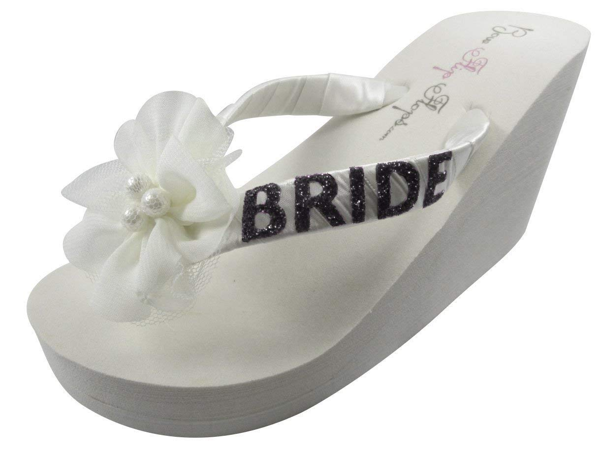 f396fc3a7 Get Quotations · Design your own flower Bride Flip flops with wedge heel