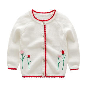 newborn baby clothes Cute girls flower cardigans sweater fashion kids warm knit wild series coats outer wear infant clothing