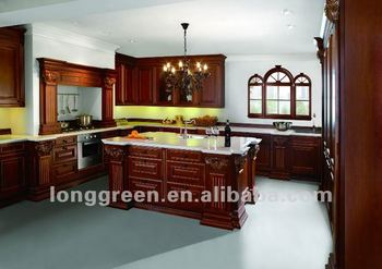 2012 new product luxury american style cherry wood kitchen for Cherry wood kitchen cabinets price