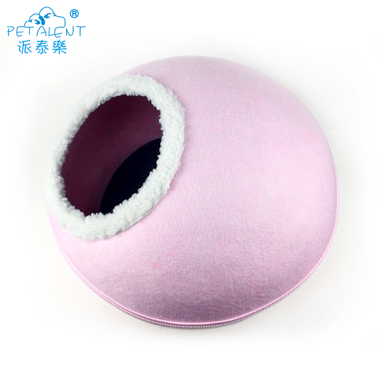 Trade assurance plush pet product dog bed,pink felt cat bed cave