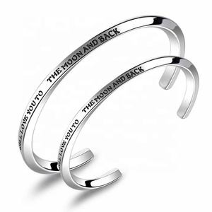 Simple Etch Engraved Message Bangle Stainless Steel Men Women Bangle Unisex Love Bangle