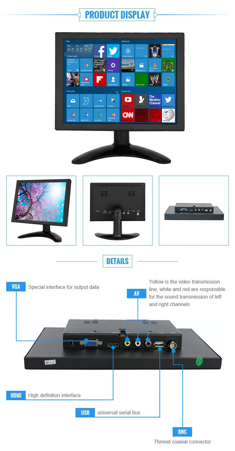 Desktop Computer 8 Inch Vga Lcd Monitor with TFT Panel