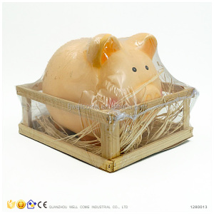 Ceramic Pink Pig Piggy Bank in Wood Case