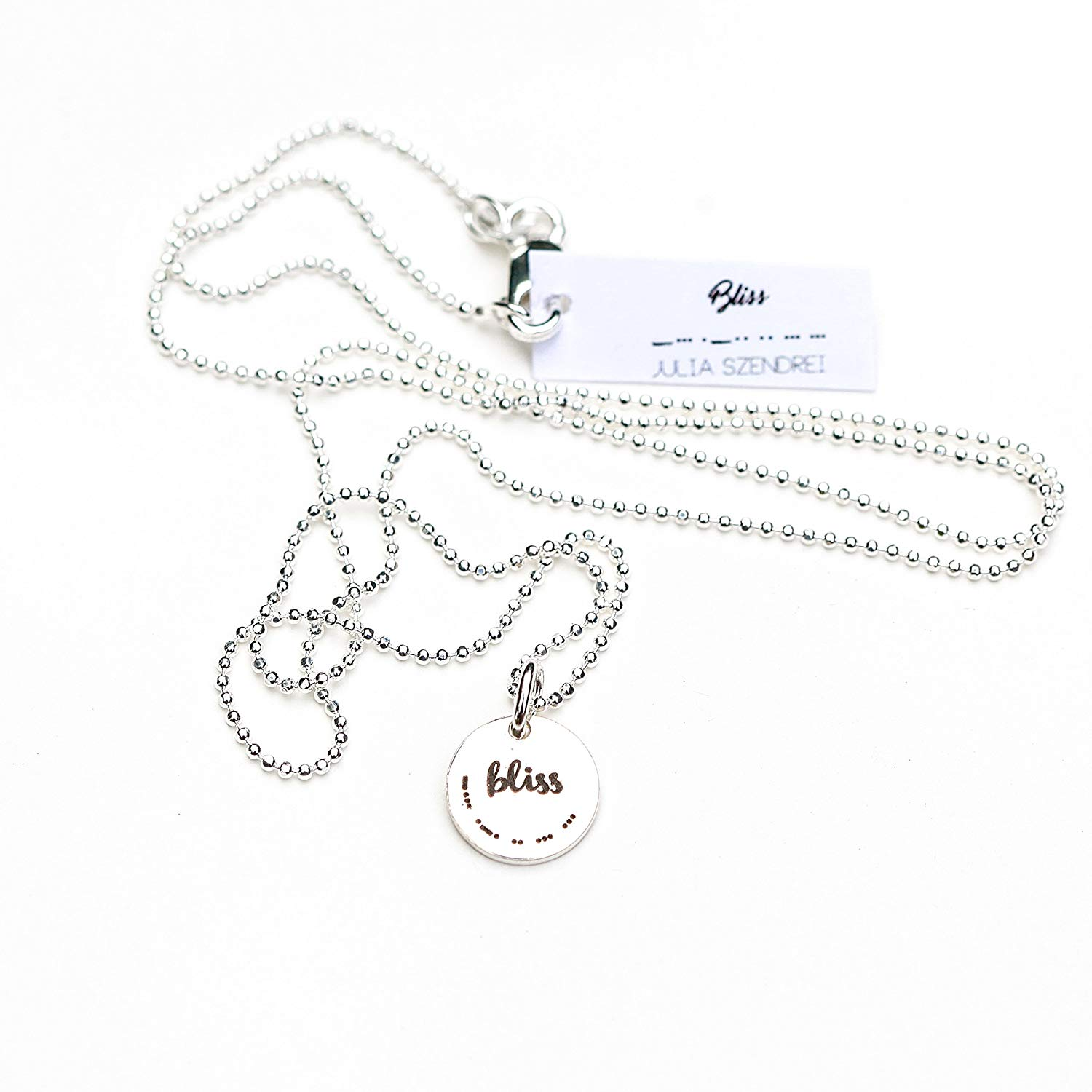 """""""BLISS"""" Morse Code Charm Necklace"""