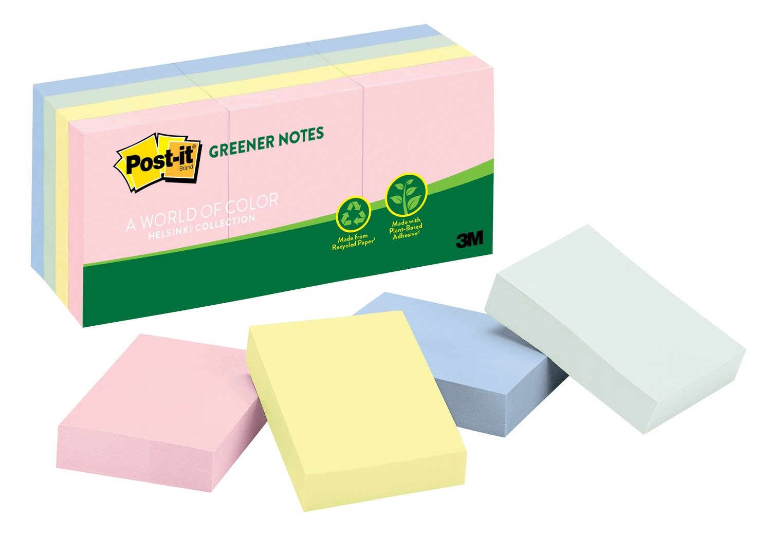 Post-it Greener Notes, 1.5 in x 2 in, Helsinki Collection, 12 Pads/Pack (653-RP-A)