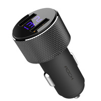 ROCK sitor digital display car charger 3.4A fast charging 2 port USB car charger