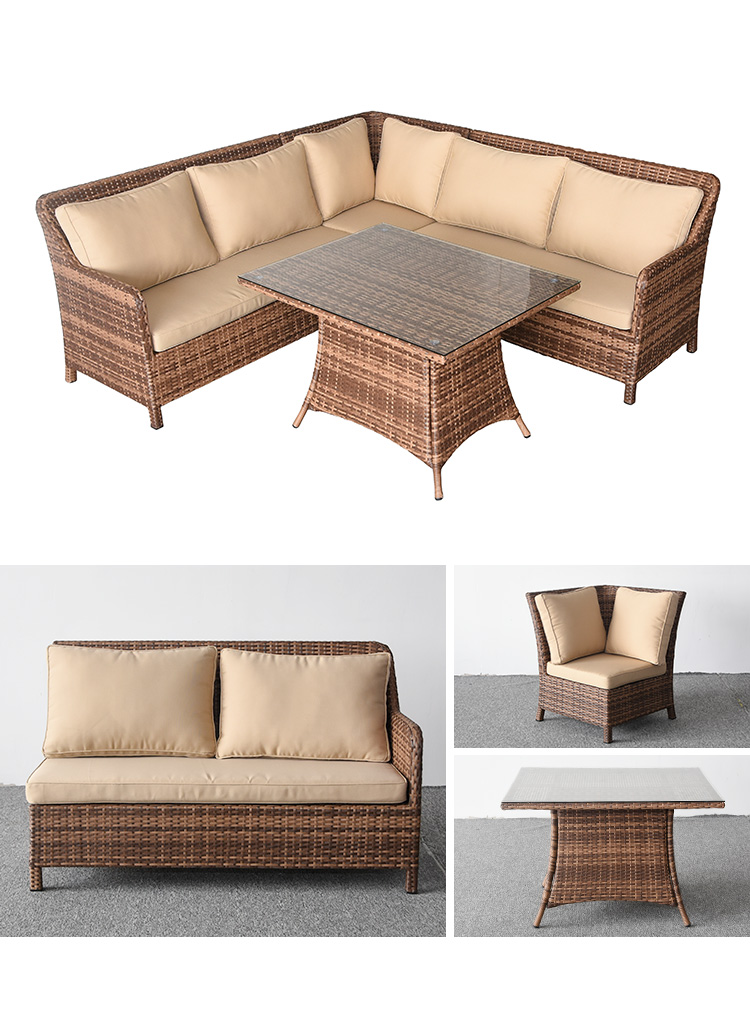 L shaped outdoor full fabric cover sofa set sectional furniture waterproof