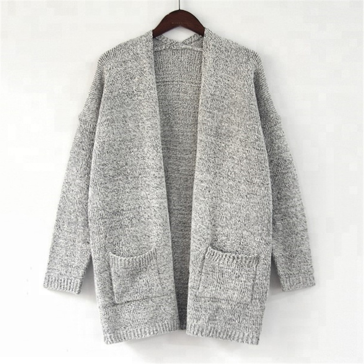 Wholesale Fashion Women Grey&amp;<strong>Black</strong> Knitted <strong>Long</strong> <strong>Cardigan</strong>