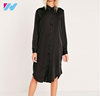 OEM women's clothing New latest design dress women girl's fashion sexy big size back embroidered casual black shirt dress
