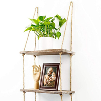 Rustic Home Wall Decor 3 Tier Distressed Wood Jute Rope wood Floating Shelves
