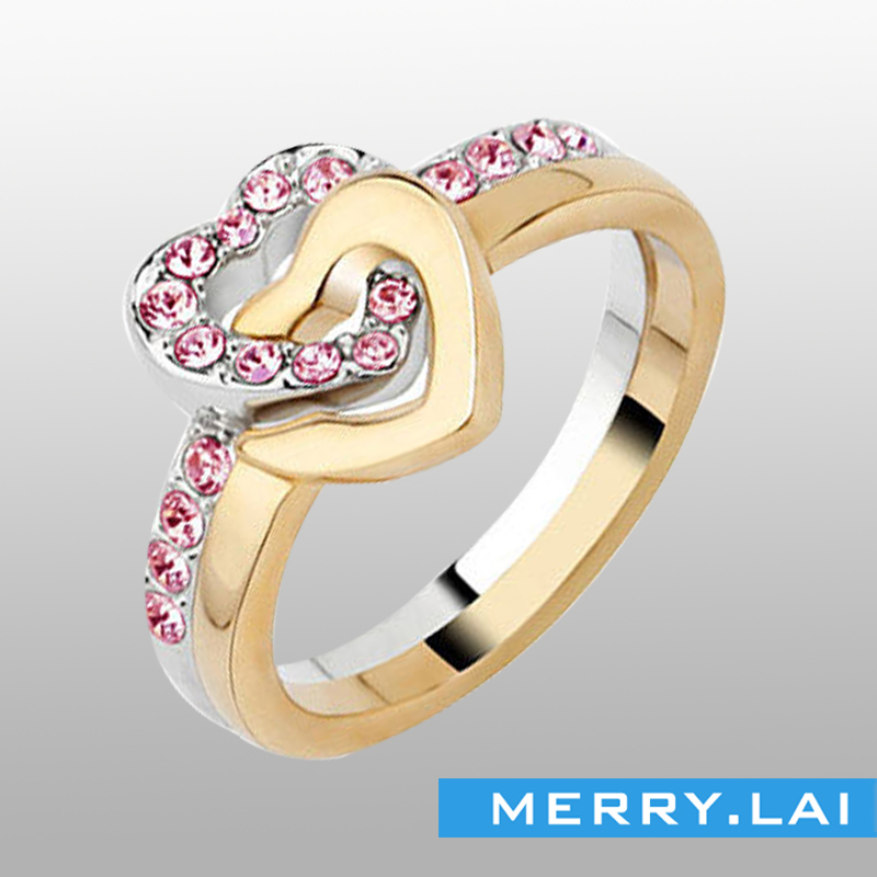 delicate ladies' stainless steel pink CZ stone rings double hearts rose gold plated #RFW043