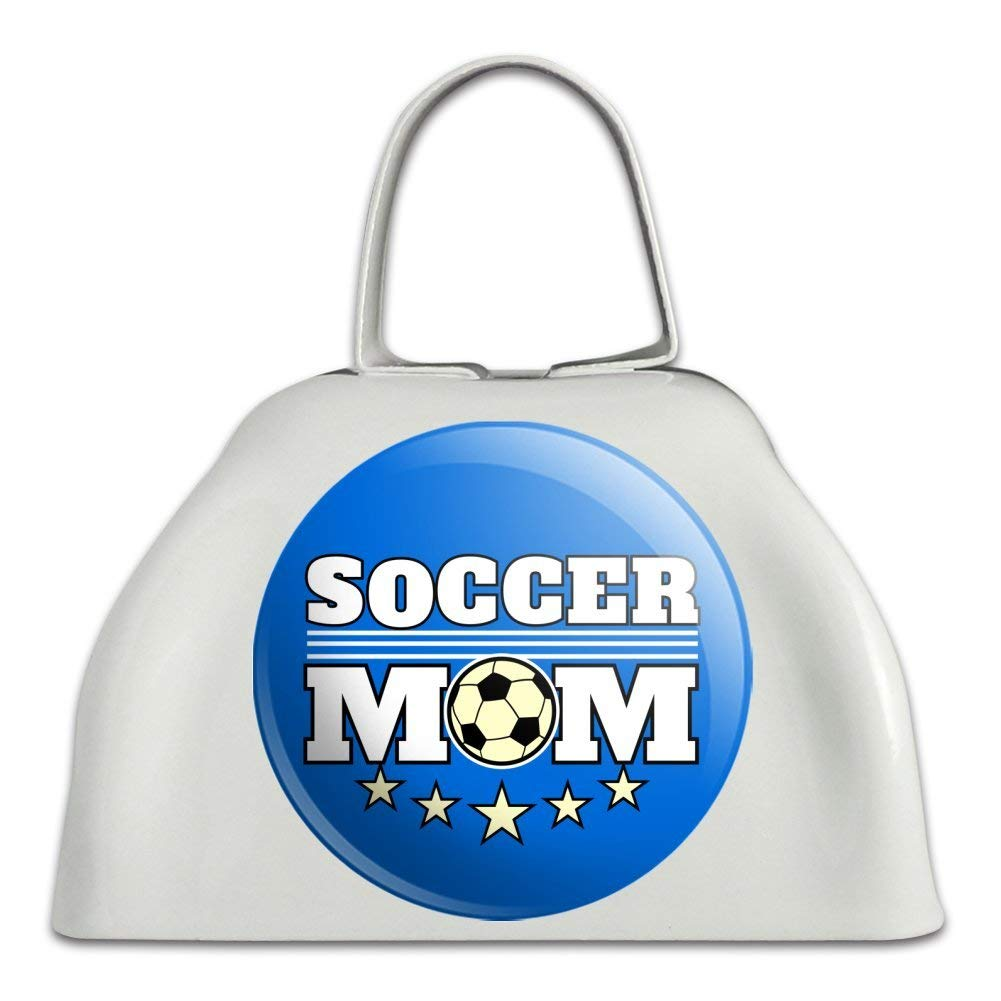Soccer Mom Mother Sports White Metal Cowbell Cow Bell Instrument