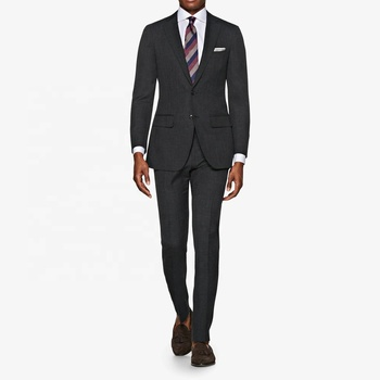 High end custom made 100% wool grey fabric super 120's latest design mens 2 piece suit
