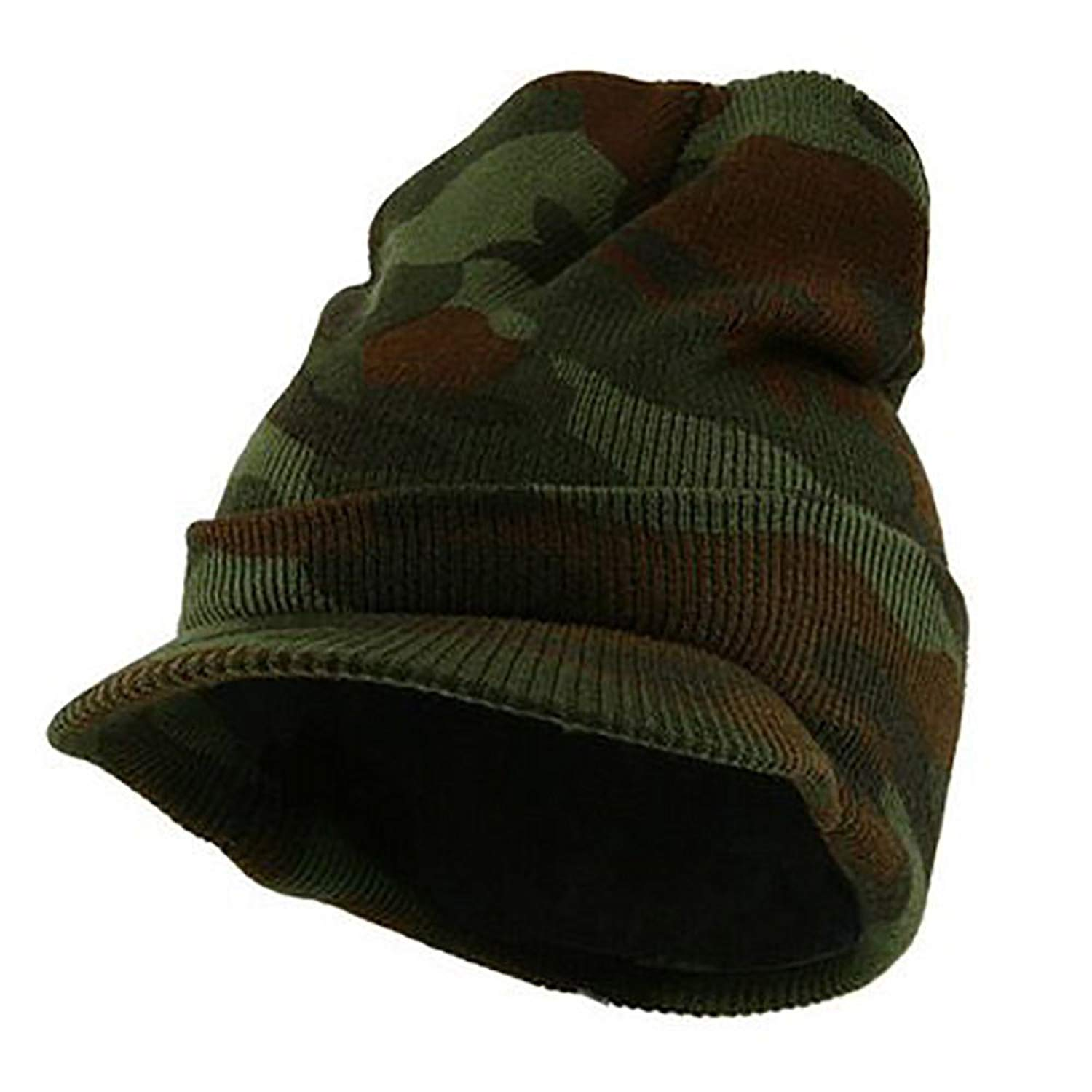 c8a69e0907c Get Quotations · Youth Camouflage Camo Plain Visor Beanie Knit Ski Hat Warm  Solid Color Cuff NEW Magic
