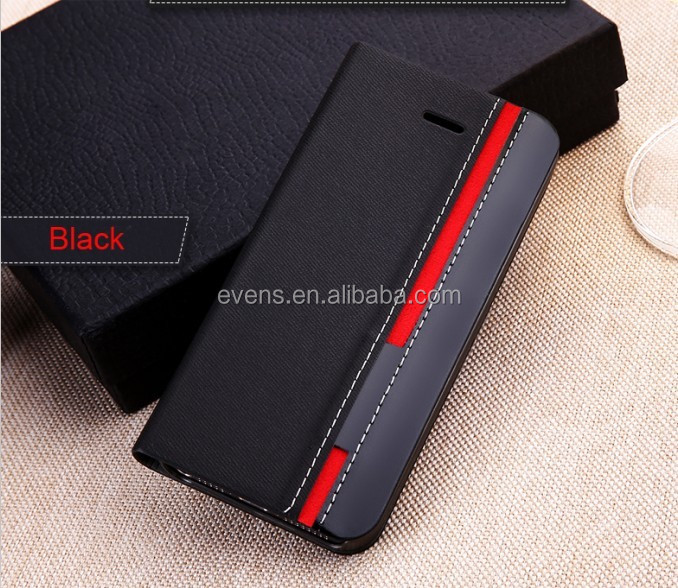 Contrast color Fashion PU Leather Wallet Flip Mobile Phone Case Cover For HTC S1