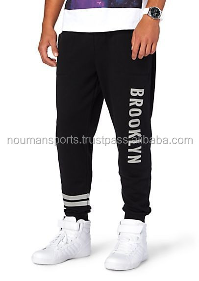 Black Sweat Pants with White Print one side 100% cotton fleece sweat pants manufacturing factory