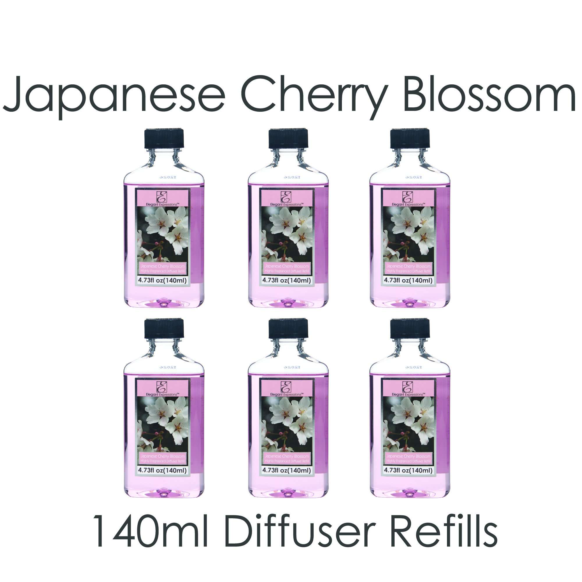 Aromatherapy Hosley Premium, Japanese Cherry Blossoms, Highly Scented, Reed Diffuser Refill Oil- Set of 6 / 140 ml (4.73 fl oz) Each - Made in USA. BULK BUY.