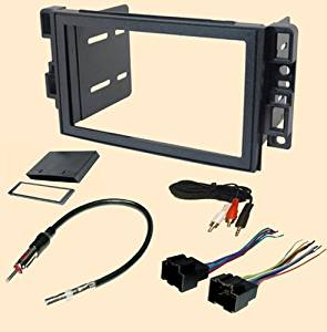 Pontiac G3 (2009) - Chevy Aveo Sedan (2007 2008 Sedan Only) Chevrolet Aveo (2009 2010 2011) Stereo wiring Harness, Single or Doulbe Din Dash Install Kit Faceplate, with FM Antenna Adaptor (Combo Complete Aftermarket Stereo Wire and Installation Kit)