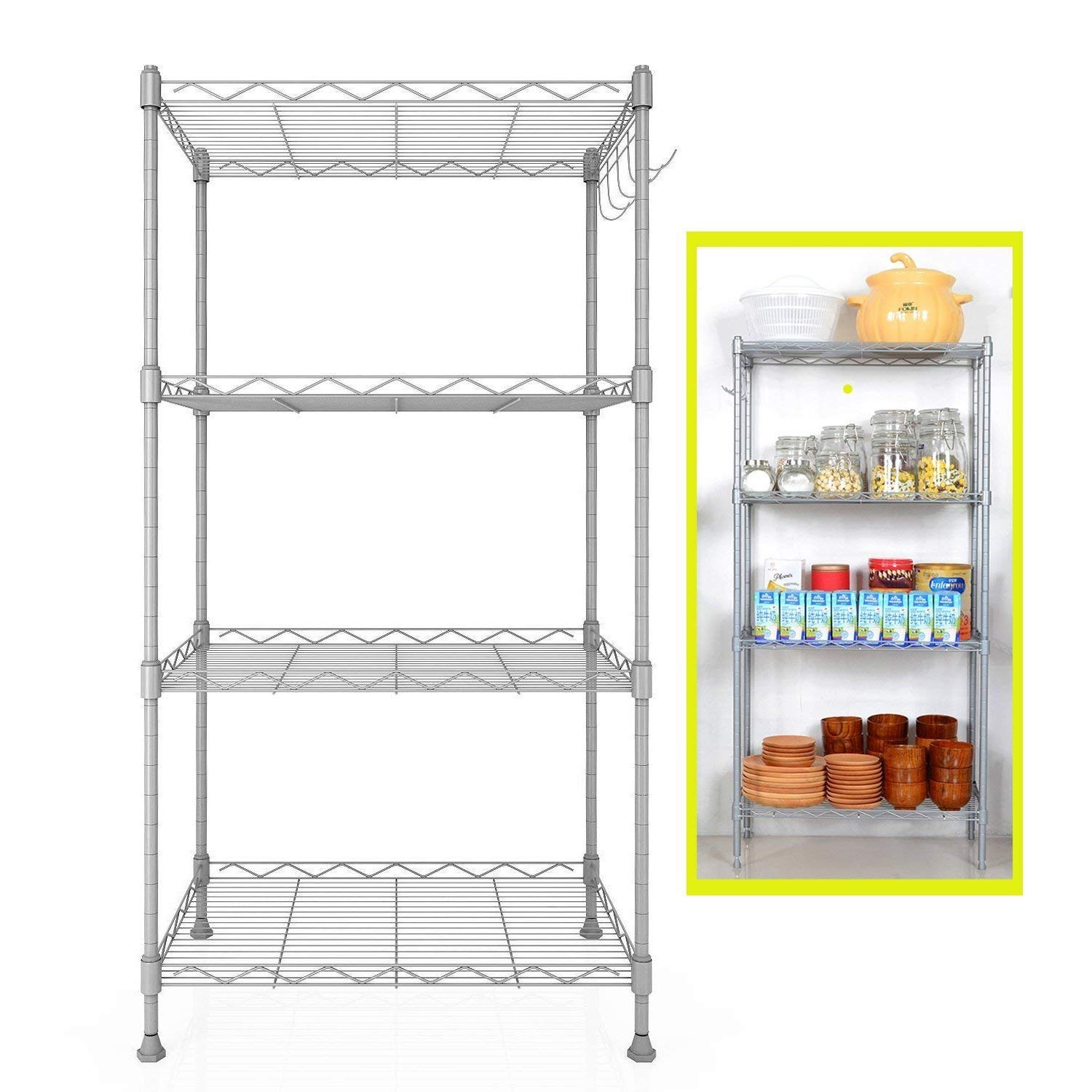Keland (US STOCK) Stainless Steel Wire Shelving Units, 4-Tier Kitchen Wire Storage Racks Wire Mesh Shelving With Side Hooks for Office Living Room Garage Workshop