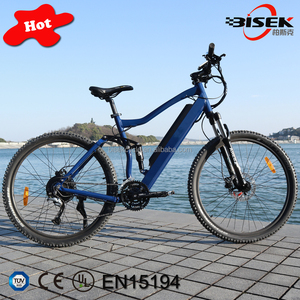 Full suspension electric mountain bike with 27 speed gears