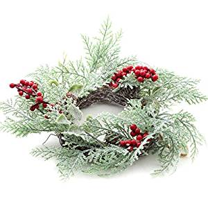 Factory Direct Craft Group of 3 Sparkling Artificial Cedar and Berry Wreaths for Embellishing Florals, Centerpieces, and More
