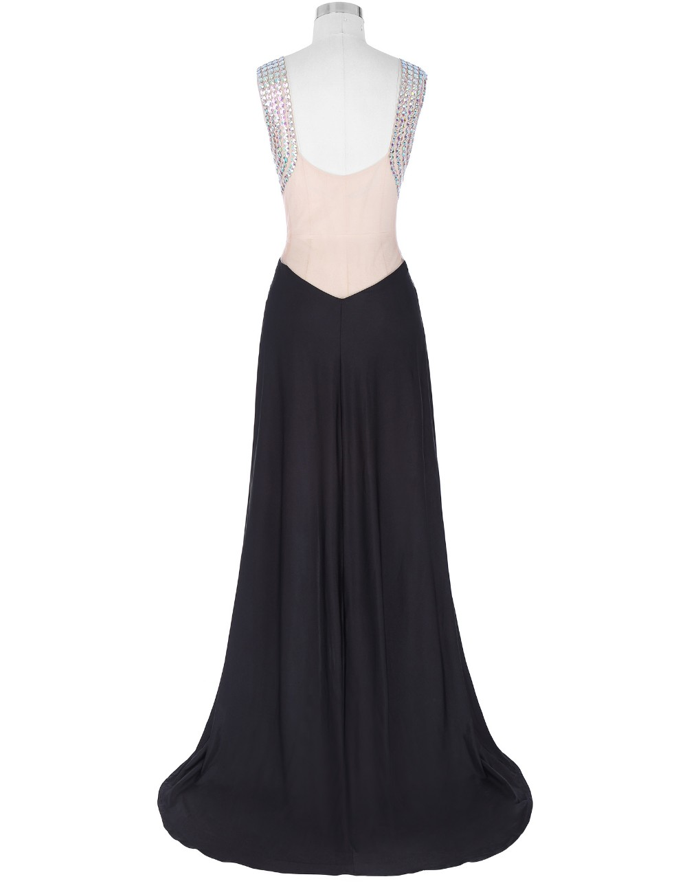 Grace Karin Floor-Length Sleeveless V-Neck High Split Beaded Prom Dress GK000137-1