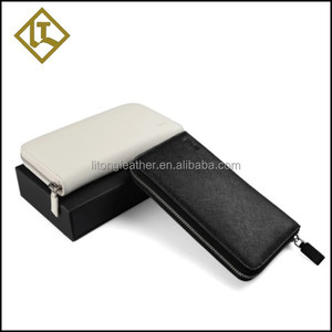 Fashion hot sale cross pattern leather clutch wallet with zip for men
