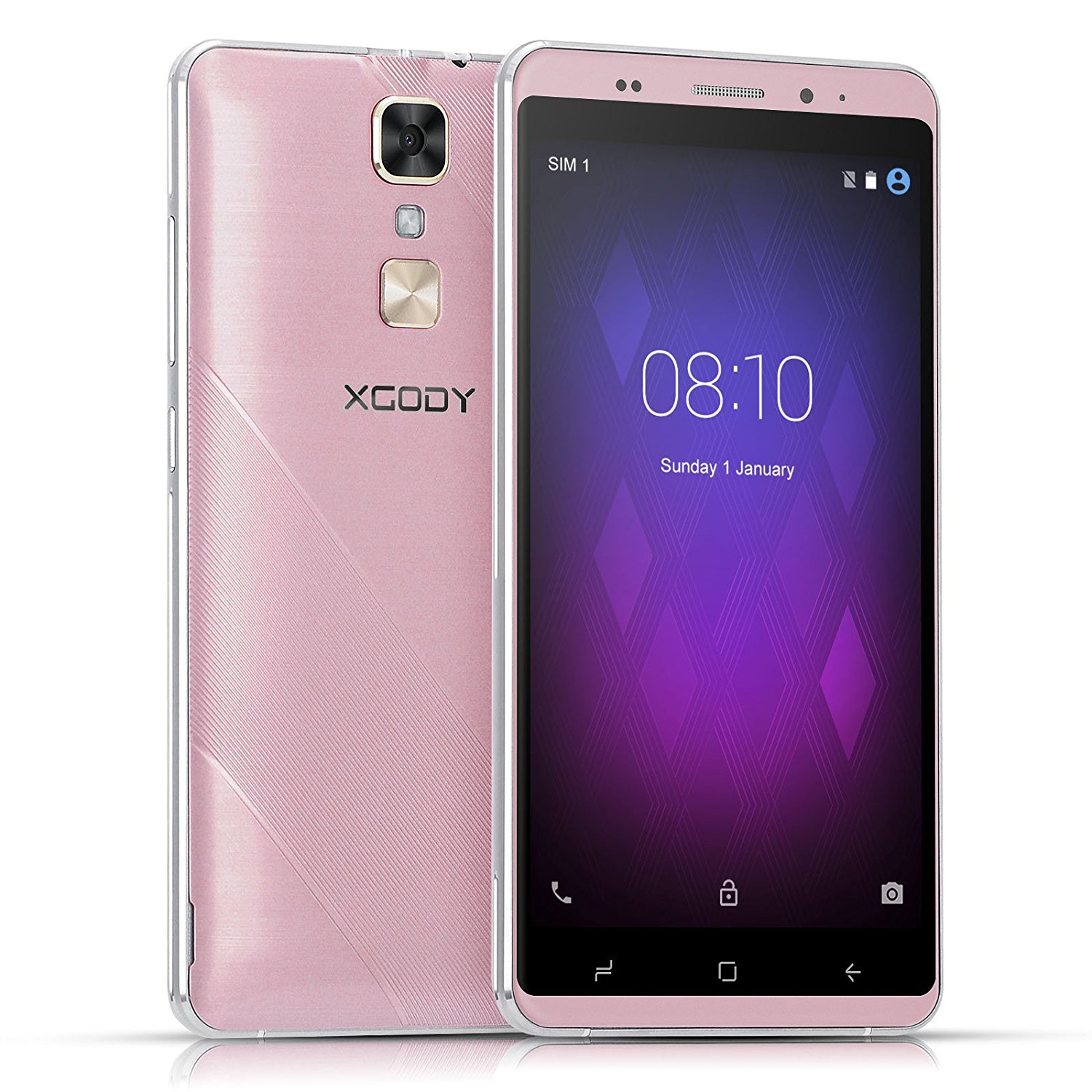 Xgody D17 RAM1GB+ROM 16GB 3G 5.5 inch Android 5.1 Smart Phone MTK6580A Quad Core 1.3GHz Dual Camera 5.0MP+ 8.0MP Rose Gold
